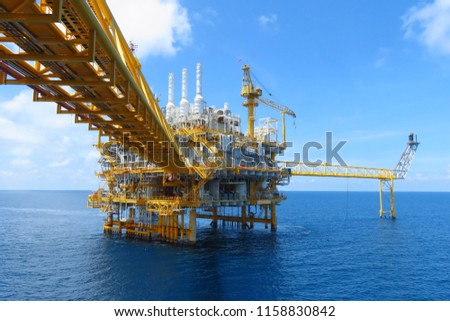 Offshore construction platform for production oil and gas, Oil and gas industry and hard work,Production platform and operation process by manual and auto function, oil and rig industry and operation. #1158830842