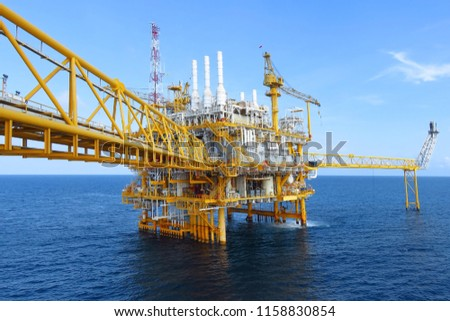 Offshore construction platform for production oil and gas, Oil and gas industry and hard work,Production platform and operation process by manual and auto function, oil and rig industry and operation. #1158830854