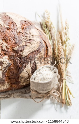 Closeup of loaf of bread with several grains #1158844543