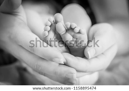 Tiny feet of a newborn baby girl in her mothers arms. One week old infant baby. First days of her life image. Maternity and motherhood concept image.  Black and white photo.