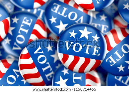 Vote buttons in red, white, and blue with stars - 3d rendering #1158914455