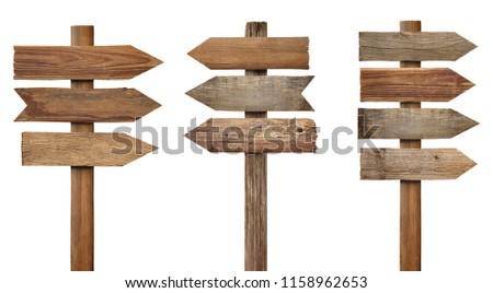 collection of various wooden signpost on white background  #1158962653