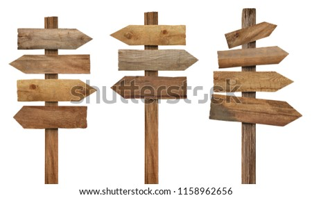 collection of various wooden signpost on white background  #1158962656