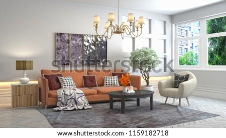 Interior of the living room. 3D illustration #1159182718