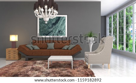 Interior of the living room. 3D illustration #1159182892