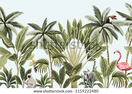 Tropical vintage animals, toucan, flamingo, palm trees, banana tree floral seamless border blue background. Exotic jungle wallpaper.