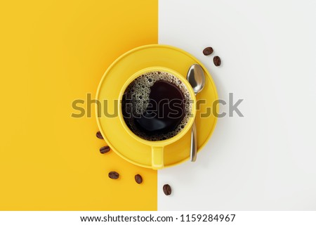 Top view of coffee cup on yellow and white background. Royalty-Free Stock Photo #1159284967
