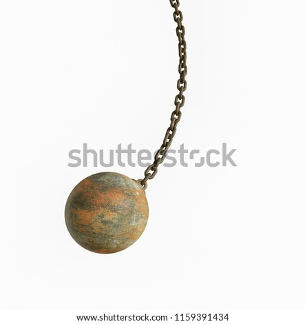 metal wrecking ball isolated on white background Royalty-Free Stock Photo #1159391434
