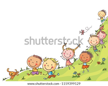 Happy cartoon kids running, vector frame with a copy space, colorful