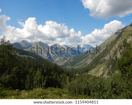 Panoramic view along the Rutor waterfalls path, Aosta Valley - Italy #1159404811