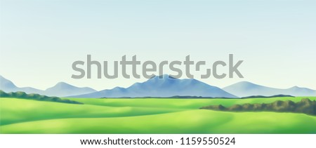 Landscape with forest and mounts. Vector background.  #1159550524