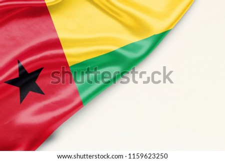 Flag of Guinea Bissau: white background and place for text #1159623250