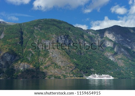 Breathtaking view of Sunnylvsfjorden fjord and cruise ship. western Norway #1159654915