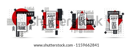 vector illustration creative modern frames. stylish graphics with elements of typography red abstract shape. element for design business cards, invitations, gift cards, flyers and brochures Royalty-Free Stock Photo #1159662841