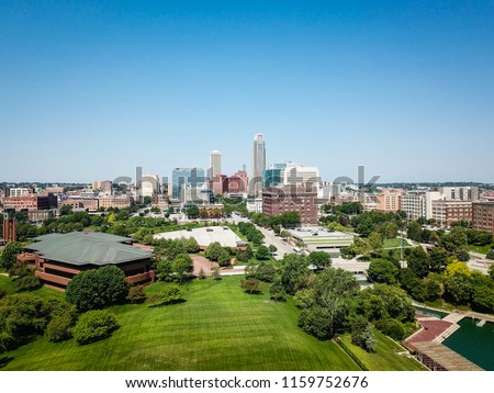 Aerial Photography Downtown Omaha Skyline
