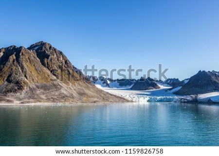 View of Smeerenburg bay and glaciers in Spitsbergen islands, Svalbard, Norway. #1159826758