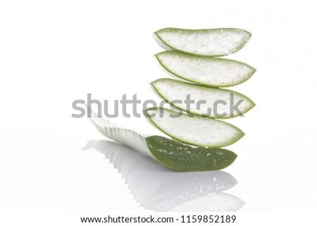 Aloe vera slice on white background. #1159852189