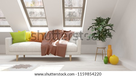White room with sofa and winter landscape in window. Scandinavian interior design. 3D illustration #1159854220