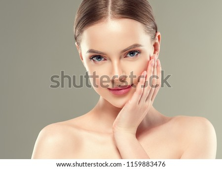 Healthy skin woman close up face cosmetic beauty girl young model beautiful portrait #1159883476