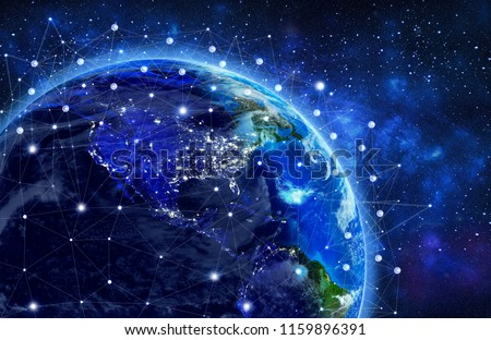 Network and data exchange over planet earth in space .3D rendering .Elements of this image furnished by NASA #1159896391
