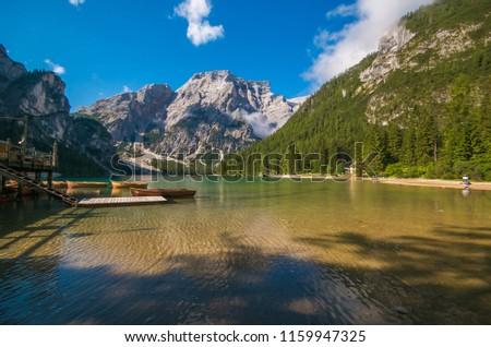 Panorama of fantastic Braies lake in the summer season