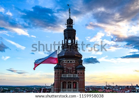 Provincial Office Tower on Haken Terrace in Szczecin with the Polish flag. Royalty-Free Stock Photo #1159958038
