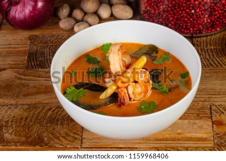 Delicious Tom Yum soup with herbs #1159968406