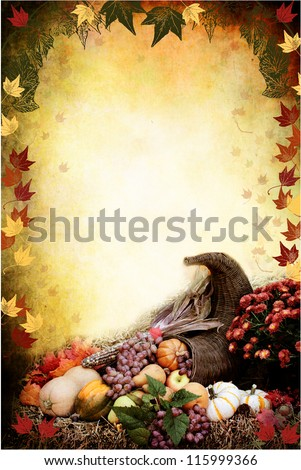 Photo based illustration of an autumn background with a Cornucopia or Horn of Plenty on bales of straw with fresh vegetables and fruit spilling out. Flier / flyer has empty copy space for text.