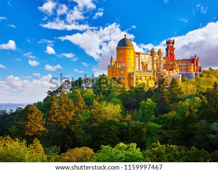 Palace of Pena in Sintra. Lisbon, Portugal. Famous landmark. Summer morning landscape with blue sky. #1159997467