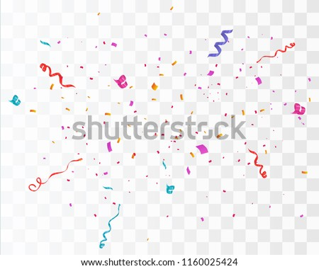 Colorful bright confetti isolated on transparent background. Festive vector illustration Royalty-Free Stock Photo #1160025424