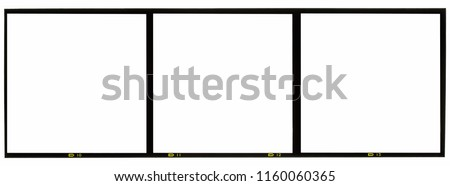 120mm middle or medium format analog film frame or strip on white background, scanned 6x6 frame Royalty-Free Stock Photo #1160060365