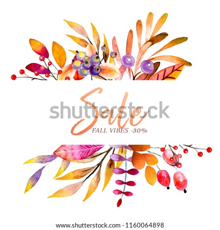 Hand drawn watercolor wreath of forest leaves, flowers, berries. Black friday discount. Autumn abstract branches. Mapple, orange, pumkin, guelder, dog rose. Season greeting, wedding card, sale banner. #1160064898