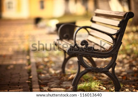 bench in the autumn park #116013640