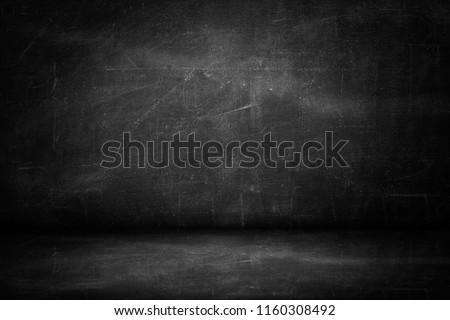 blackboard texture wall and black background, copy space horizontal studio