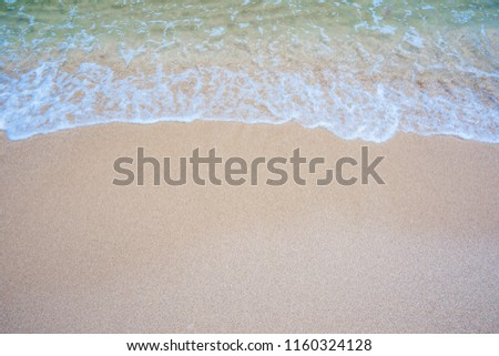 Empty sand beach with wave background. Summer Vacation Travel and Holiday concept #1160324128