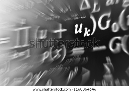 Large number of mathematical formulas focus zoom on a black background #1160364646