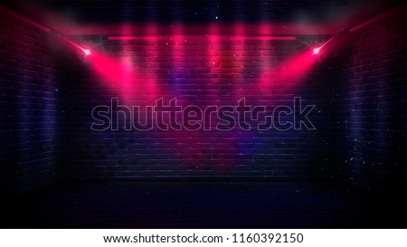 Background of an empty corridor with brick walls and neon light. Brick walls, neon rays and glow #1160392150