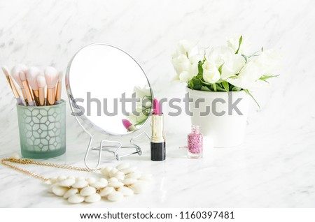 Accessories for makeup on the dresser #1160397481