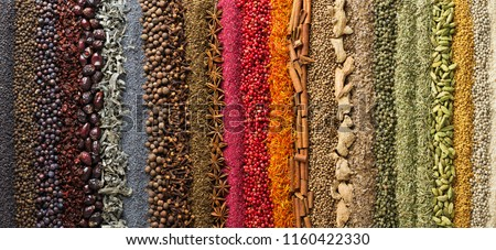 Panoramic background, spices and herbs for design packaging with food or websites headers.  Bright seasonings scattered on table in form rainbow. #1160422330