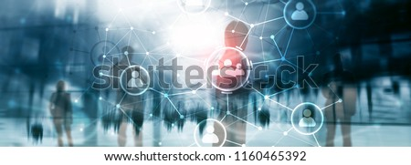 People relation and organization structure. Social media. Business and communication technology concept. Royalty-Free Stock Photo #1160465392