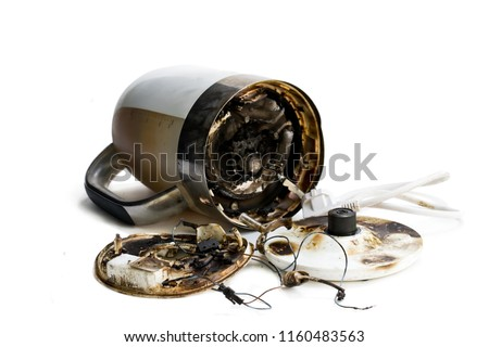Faulty  automatic electric kettle caught fire  #1160483563