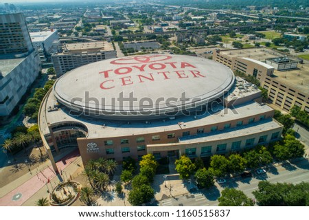 HOUSTON, TEXAS, USA - AUGUST 1, 2018: Aerial drone image of the Toyota Center Houston Texas USA #1160515837