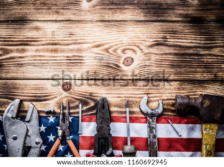 Happy Labor day. Construction tools. Copy space for text on wood background. #1160692945