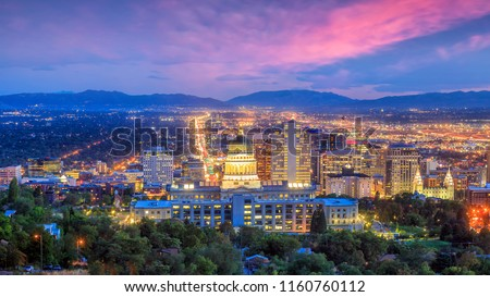 Salt Lake City skyline Utah at night in USA Royalty-Free Stock Photo #1160760112