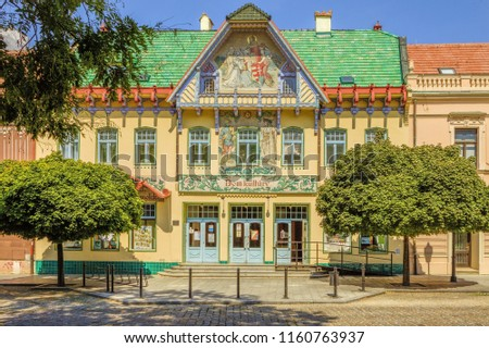 Skalica Culture House (Catholic House), Secession building in Skalica (Záhorie region) built in 1905. Inspired from Slovak and Moravian folk architecture decorated with mosaic work comprising sketches #1160763937