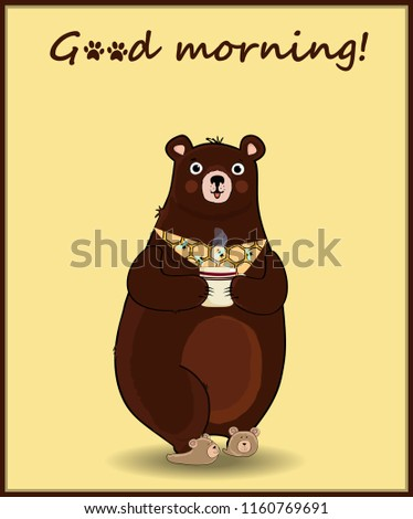Vector illustration of cute cartoon bear character in slippers and necktie, holding cup with hot drink on yellow background with hand drawn inscription good morning with animal paw prints above.