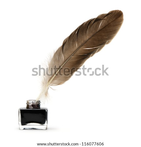 Feather pen into the inkwell. Isolated on a white background. Royalty-Free Stock Photo #116077606