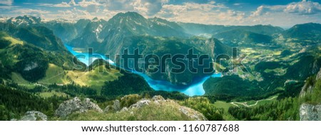 View of the Konigsee lake from Jenner mount in Berchtesgaden National Park, Upper Bavarian Alps, Germany, Europe. Beauty of nature concept background. #1160787688