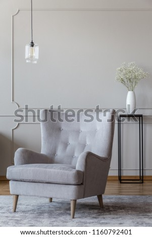 Light gray, elegant armchair and a black vase standing in a sophisticated living room interior with molding on beige walls #1160792401