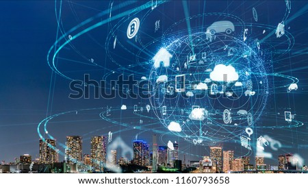 Smart city and IoT (Internet of Things) concept. ICT (Information Communication Technology). Royalty-Free Stock Photo #1160793658